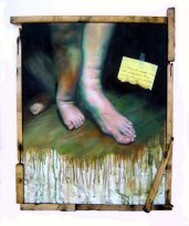 """""""Sana'y 'di nagmaliw"""" 16 x 20 inches Oil on canvas with recycled wood 2008"""