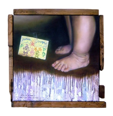 """""""Morningstar"""" 12 x 12 inches Oil on canvas with recycled wood 2008"""