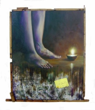 """""""May Your light overcome my darkness."""" 24 x 30 inches Oil on canvas with scrap cloth and recycled wood 2009"""