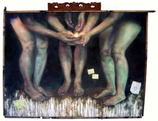 """""""Our country is the world and our religion is to do good."""" 48 x 36 inches Oil on canvas with recycled wood 2009"""