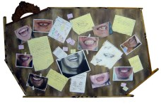 """""""Everyone smiles in the same language."""" 5 x 3 feet Oil on canvas with recycled wood 2010 (Private collection - Manila, Philippines)"""