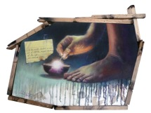 """""""Let there be light."""" 20 x 15.5 inches Oil on canvas with scrap cloth and recycled wood 2010 (Private collection - Manila, Philippines)"""