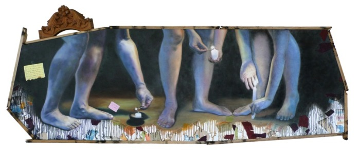 """""""Let us do all the good we can, by all the means we can, in all the ways we can, in all the places we can, at all the times we can, to all the people we can, as long as we ever can."""" 74 x 30 inches Oil on canvas with scrap cloth and recycled wood 2010 (Private collection - Manila, Philippines)"""