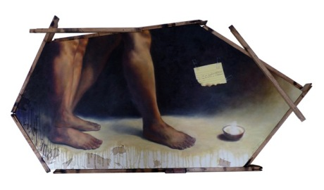 I'll go anywhere as long as it is forward. Oil on canvas with scrap cloth & recycled wood 2010 (Private collection - Manila, Philippines)