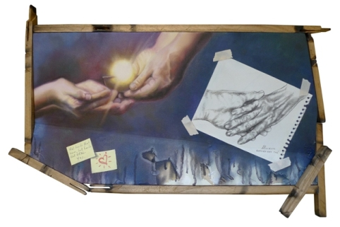 """""""Not hands that harm, but hands that heal. YES."""" Oil on canvas with recycled wood 26 x 15 x 2.5 inches 2011"""