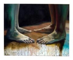 """""""Ang babae at ang lalaki. Magkaagapay. Magkapantay."""" 20 x 16 inches Oil on canvas 2008"""