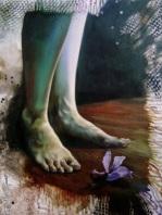 """Halimuyak sa gitna ng kaguluhan"" (Peace amidst chaos) 16 x 20 inches Oil on canvas 2008"