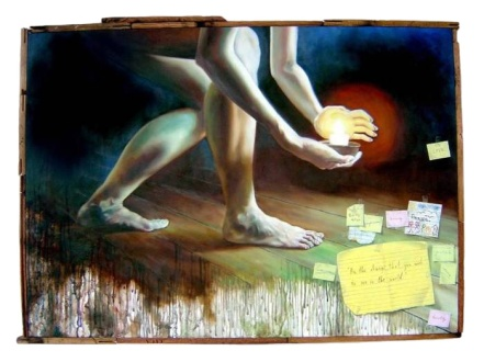 """""""Be the change that you wish to see in the world."""" 40 x 30 inches Oil on canvas with recycled wood 2008 (Private Collection - Manila, Philippines)"""