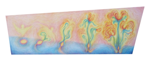 A seed develops. 2015 Acrylic on canvas 14 x 41 inches